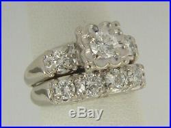 Vintage 14K White Gold 1940's. 91ctw Diamond Wedding Ring Bridal Set
