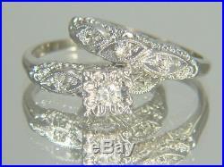 Vintage 14K White Gold 1940's Diamond Wedding Ring Bridal Set Size 4.75