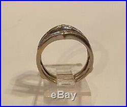 Vintage 14K White Gold Diamond Wedding Band Ring Enhancer Wrap Insert Guard