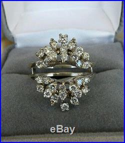 Vintage 14K White Gold Diamond Wrap Guard Enhancer Engagement