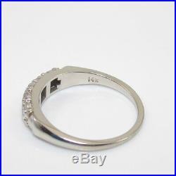 Vintage 14K White Gold Ring Size 6 Diamond Wedding Band 1/10 ct