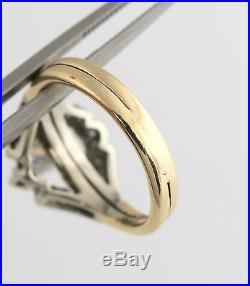 Vintage 14K YG 1/3 CTW Diamond Bridal Ring Set Custom Engagement Wedding Band CT