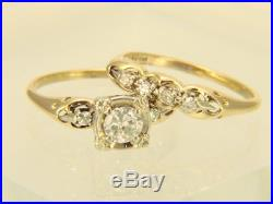 Vintage 14K Yellow Gold 1940's. 52ctw Diamond Wedding Ring Bridal Set