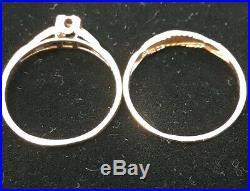 Vintage 14K Yellow Gold Art Deco Diamond Wedding Ring Set Size 7.25 2.4Gram