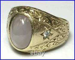 Vintage 14K Yellow Gold Finish 4 Carat Pink Star Sapphire & Diamond Unisex Ring