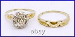 Vintage 14K Yellow Gold Round Diamond Cluster Feather Wedding Ring Set 8.25