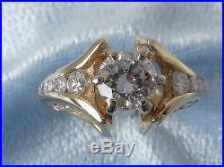 Vintage 14K Yellow Gold Wedding Ring, 27 Diamonds, TCW 1.6 Carat, size 4-3/4