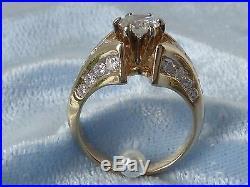 vintage 14k yellow gold wedding ring 27 diamonds tcw 16 carat size 4 - Size 4 Wedding Rings