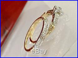 Vintage 14K Yellow White Gold Art Deco Diamond Wedding Engagement Band Ring Set