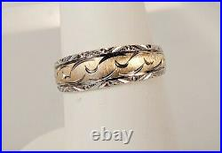 Vintage 14K Yellow White Gold Two Tone Engraved Women's Wedding Band Ring Size 6