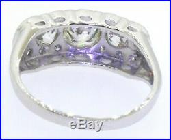 Vintage 14K white gold 1.41CT VS/H diamond wedding ring with 0.75CT center size 9
