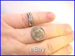 Vintage 14 K White Gold. 4 CTW Diamond Soldered Wedding Ring Set Sz 5.5