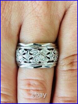 Vintage 14 K White Gold Diamond Eternity Wedding Band