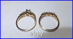 Vintage 14 Karat Gold Genuine Diamond Bridal Engagement Ring Set (1/4 ctw)