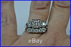 Vintage 14 Kt 1.03 Cts G-h/vs-si Diamond 2 Ring Wedding Set Lists $2900 Sz 9
