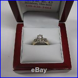 Vintage 14 Kt 2 Tone Gold. 73 Cts G Vs1 Diamond (2) Ring Wedding Set Sz 4.5