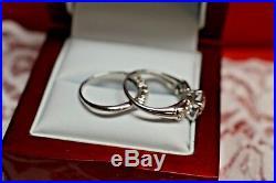 Vintage 14 Kt White Gold. 56 Cts I-j Vs Diamond (2) Ring Wedding Set Sz 5.75