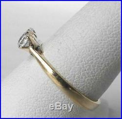 Vintage 14k Gold. 60 Ct European Diamond 3 Stone Trilogy Wedding Anniv Band Ring