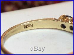 Vintage 14k Gold Blue Sapphire & Diamond Ring Band Wedding Signed Gemstone