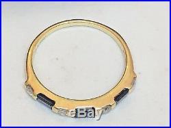 Vintage 14k Gold Blue Sapphire & Diamond Ring Band Wedding Signed R S Gemstone