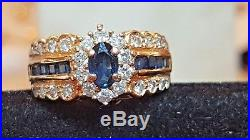 Vintage 14k Gold Blue Sapphire & Diamond Ring Halo Made In Italy Wedding Band