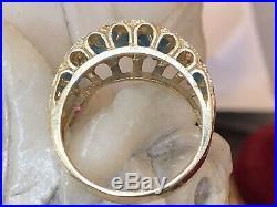 Vintage 14k Gold Blue Topaz Ring Band Gemstone Wedding Anniversary Signed Af
