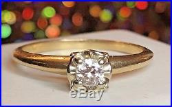 Vintage 14k Gold Diamond Engagement Wedding Ring Designer Signed Grogan-lon