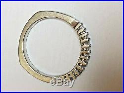 Vintage 14k Gold Diamond Ring Wedding Anniversary Princess Cut Band Signed Jx
