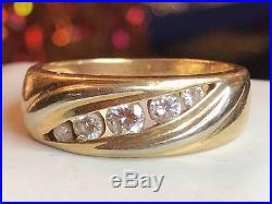 Vintage 14k Gold & Diamond Wedding Band Designer Signed Artcarved Milgrain