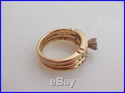 Vintage 14k Gold Diamond Wedding Ring Set 1/4ct Diamond Size 6 Heavy