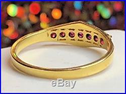 Vintage 14k Gold Genuine 7 Pink Sapphire Band Ring Signed Gemstone Wedding