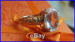 Vintage 14k Gold Genuine Gemstone Ring Designer Signed Sts From India Wedding