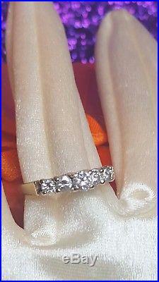 Vintage 14k Gold Genuine Natural 5 Diamonds Wedding Band Ring Graduated