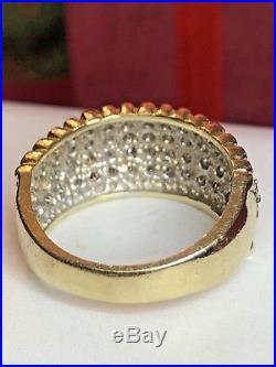 Vintage 14k Gold Genuine Natural Diamond Band Wedding Ring Bridal Anniversary