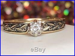 Vintage 14k Gold Genuine Natural Diamond Engagement Ring Designer Signed Fr Wed