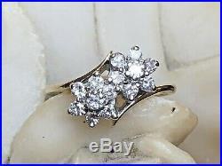 Vintage 14k Gold Genuine Natural Diamond Ring Engagement Wedding Double Flower