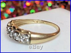 Vintage 14k Gold Genuine Natural Diamond Wedding Band Ring Designer Signed Jp