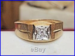 Vintage 14k Gold Men's Ring Band Wedding Genuine Diamond Designer Signed Ibg