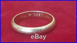 Vintage 14k Gold Men's Wedding Band Signed Qe2 Size 10 1/4 Brushed Gold Scrape