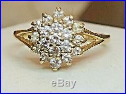 Vintage 14k Gold Natural Diamond Ring Cluster Flower Engagement Wedding