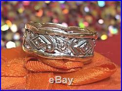 Vintage 14k Gold White & Yellow Ring Wedding Band Engagement Bridal Milgrain