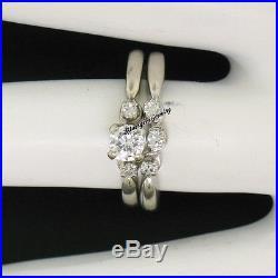Vintage 14k White Gold 0.40ctw Old Cut Diamond Engagement Ring Wedding Band Set