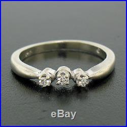 Vintage 14k White Gold 0.40ctw Old Cut Engagement & Wedding Ring Band Set