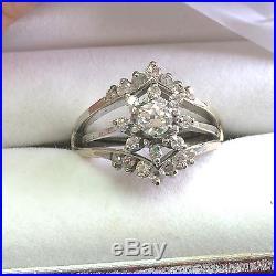 Vintage 14k White Gold 3/4 Ct Diamonds Wedding Set Ring Sz 7.3/4 Halo