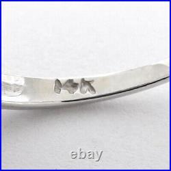 Vintage 14k White Gold 3 Stone Diamond Milgrain Wedding Anniversary Band Ring