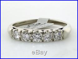 Vintage 14k White Gold 5 Diamond 0.50 Carat Wedding Band. Circa 1940's