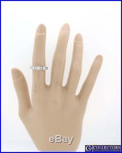 Vintage 14k White Gold. 75ctw Princess Round Diamond 5mm Wedding Band Ring L8