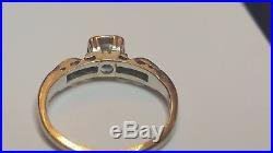 Vintage 14k White Gold Diamond Engagement Wedding Ring Signed S Art Deco 1940's
