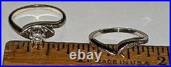 Vintage 14k White Gold Diamond Ladies Engagement Wedding Ring Set