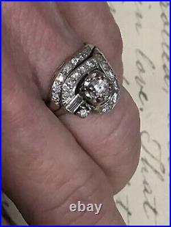 Vintage 14k White Gold Diamond Wedding Ring Set 5.0 grams Size 6.25